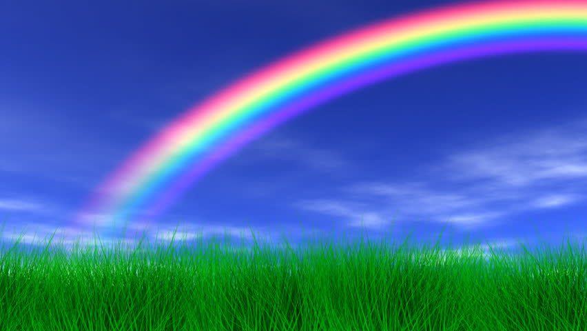 Sunny day with rainbow and fluffy white clouds — Stock ... |Real Rainbows In The Sky On A Sunny Day